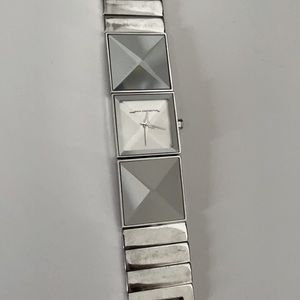 FRENCH CONNECTION geometric silver watch
